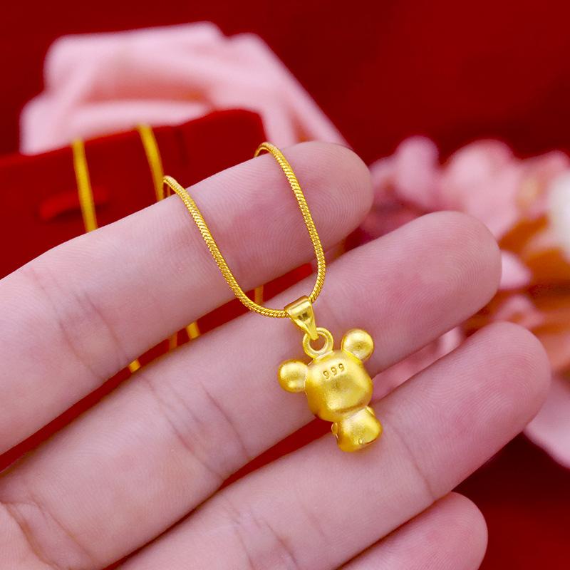网红  黄金老鼠吊坠锁骨项链足金饰品 24K 2020 本命年鼠生肖项链