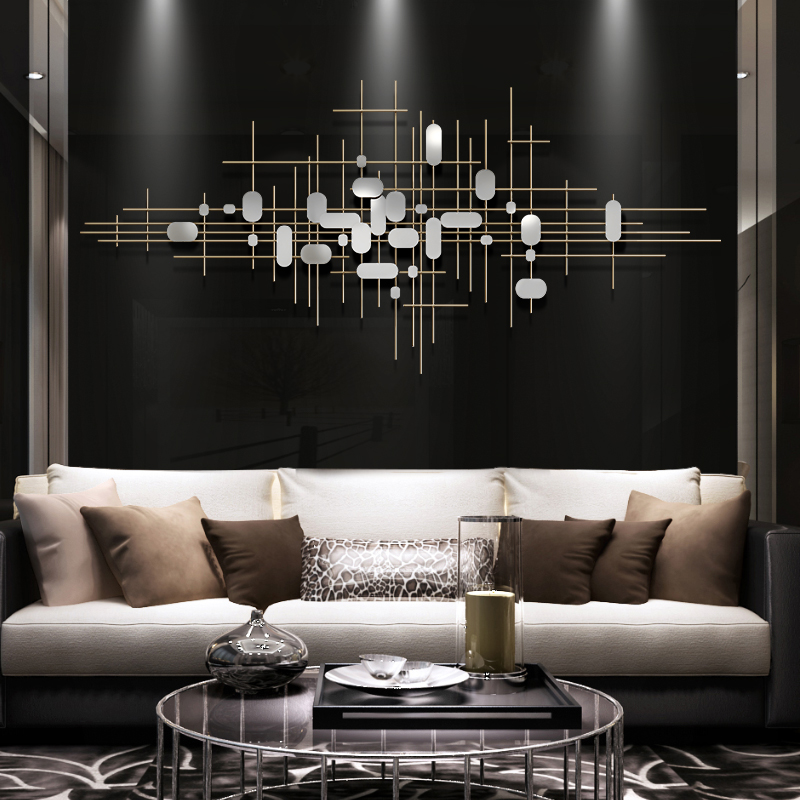 墻面裝飾掛件客廳沙發背景墻掛件墻上裝飾品金屬輕奢現代鐵藝壁飾