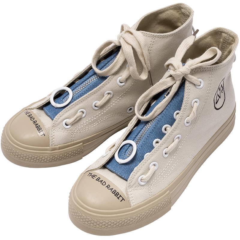 潮学生板鞋百搭情侣鞋子 ulzzang 女鞋侧拉链高帮帆布鞋女韩版 VESV