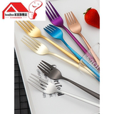 Fork stainless steel household adult creative cute children Korean long handle eating dessert salad fork large thickening