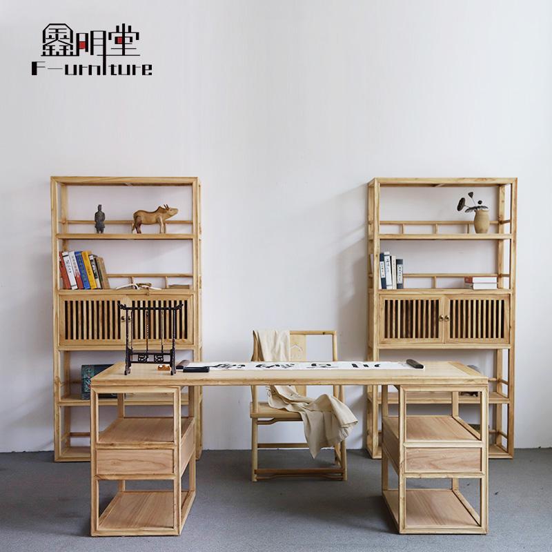 現代簡約實木榆木書桌新中式電腦桌家用辦公桌書法桌學習桌寫字檯