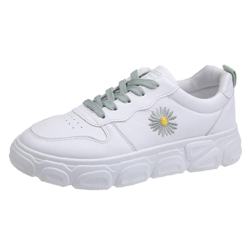 小白鞋女YZ20春夏新款时尚韩版松糕厚底圆头系带休闲老爹鞋女单鞋