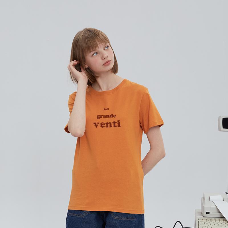 恤女短袖宽松古着感学生半袖上衣 新款暖色系日落色纯棉圆领  2020 t