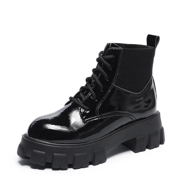 马丁靴女 新款百搭英伦风秋冬季黑色厚底增高漆皮短靴二棉鞋  2019