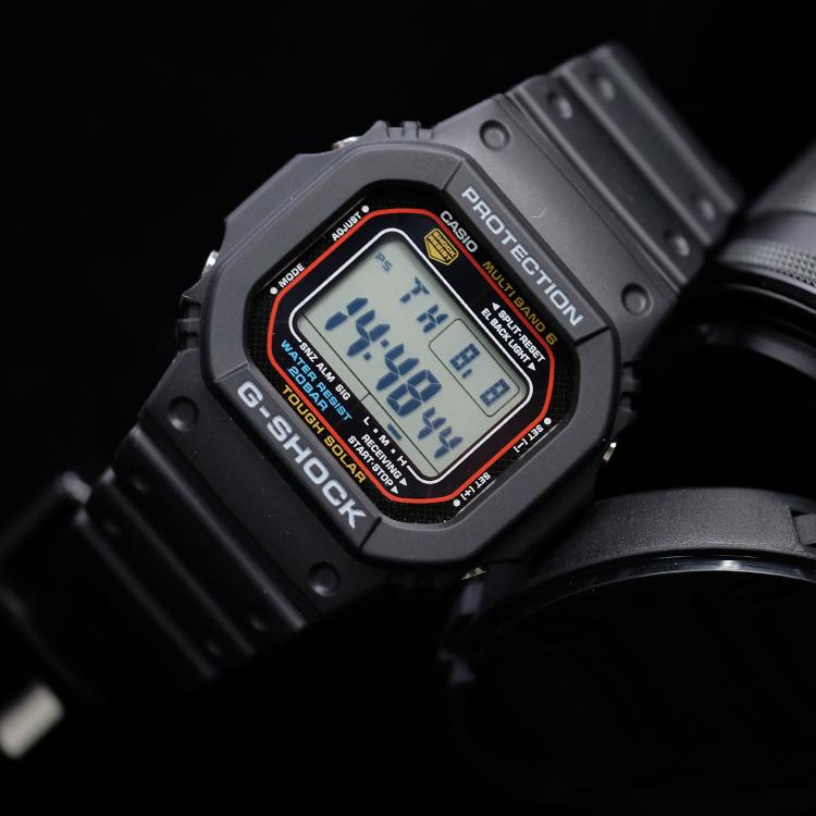 4 M5610RB 1 M5610 GW 卡西欧光动能电波经典方块方形手表男 casio