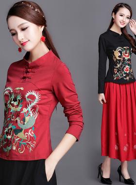 中国风女装上衣 2020秋冬装新款民族风立领刺绣长袖t恤大码打底衫