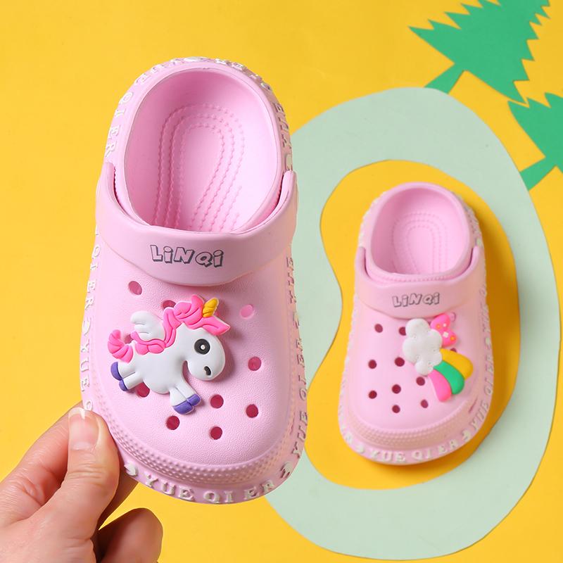 夏季儿童洞洞鞋女童可爱室内男宝宝沙滩鞋防滑软底小孩包头凉拖鞋主图