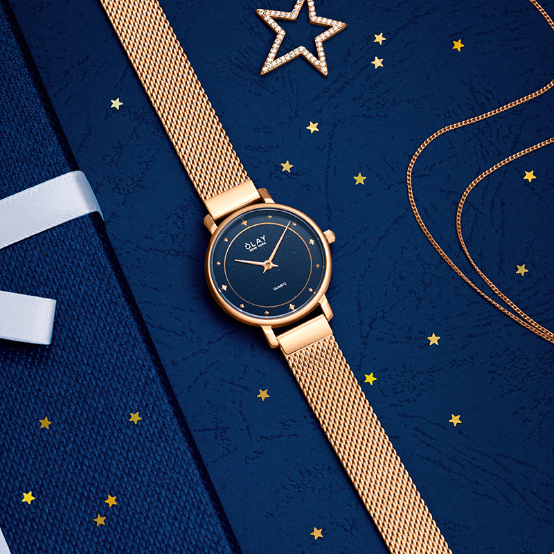 手表女细带小巧简约气质防水女士手表石英腕表进口表正品名表 OLAY