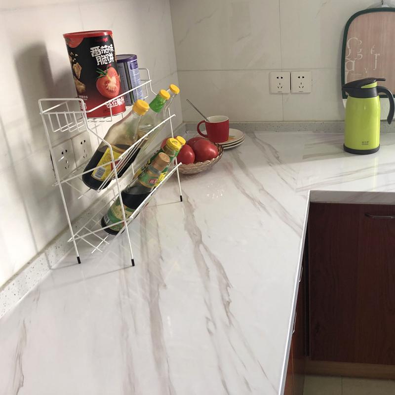 厨房防油贴纸大理石纹壁纸柜灶台耐高温防水加厚翻新台面自粘墙纸