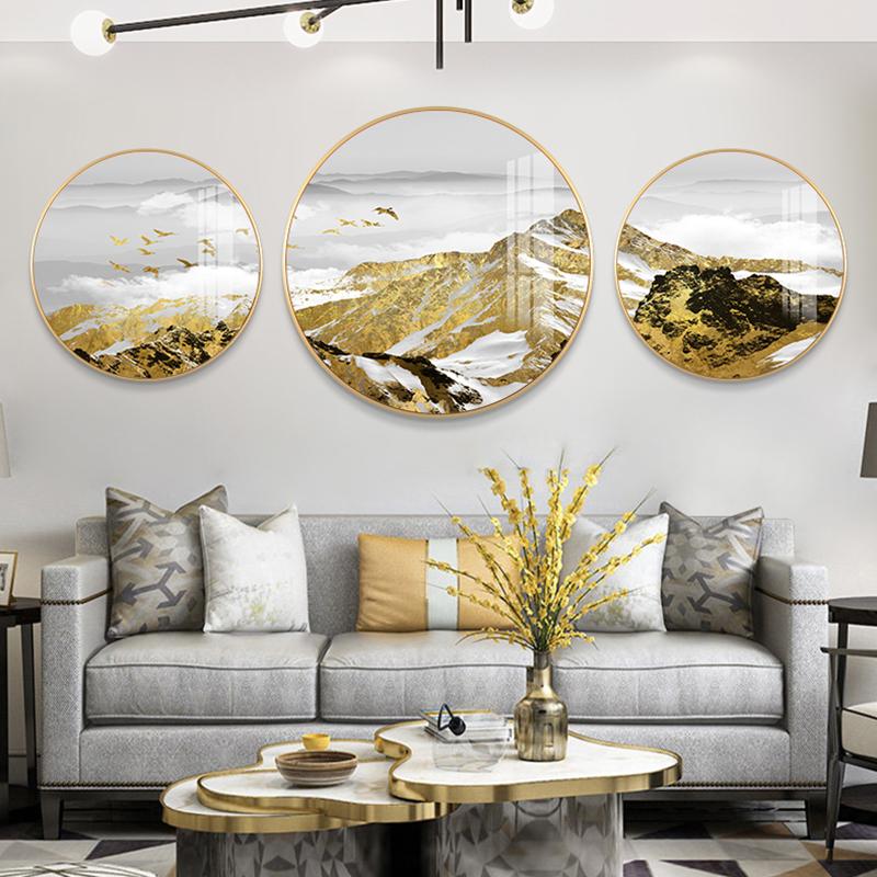 轻奢客厅装饰画新中式沙发背景墙圆形创意壁画大气山三联画挂画