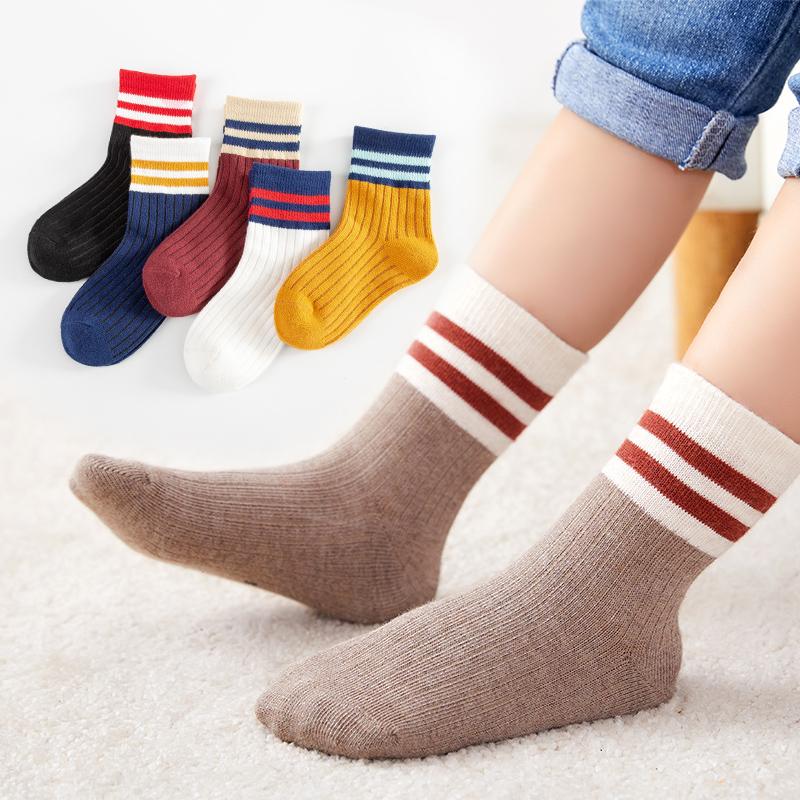 儿童袜子纯棉袜男童女童中大童中筒厚袜秋冬季加厚棉袜宝宝地板袜