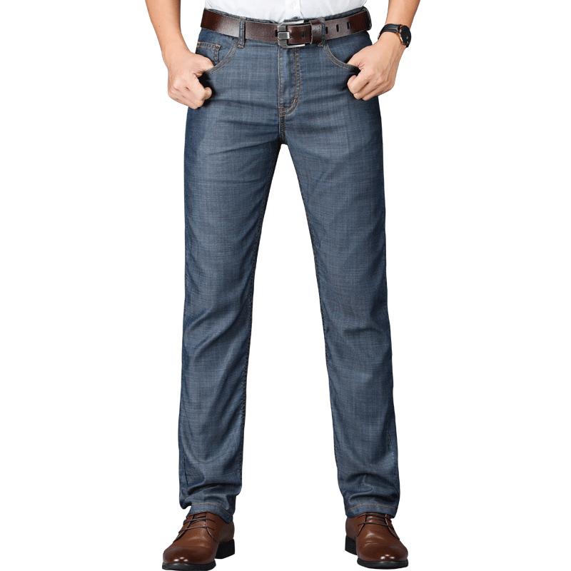 JEEP天丝牛仔裤男夏季薄款宽松直筒大码中年男士裤子弹力休闲长裤主图