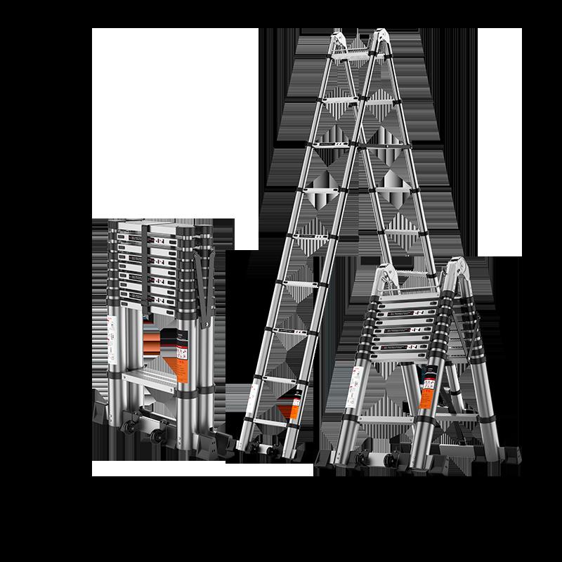 家用多功能升降楼梯伸缩梯子人字梯铝合金加厚工程折叠梯 置迈