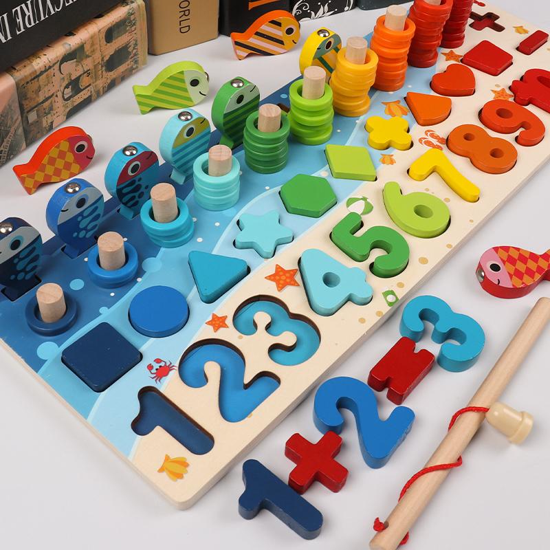 幼儿童玩具数字拼图积木早教益智力开发婴儿1-2岁半3男孩女孩宝宝