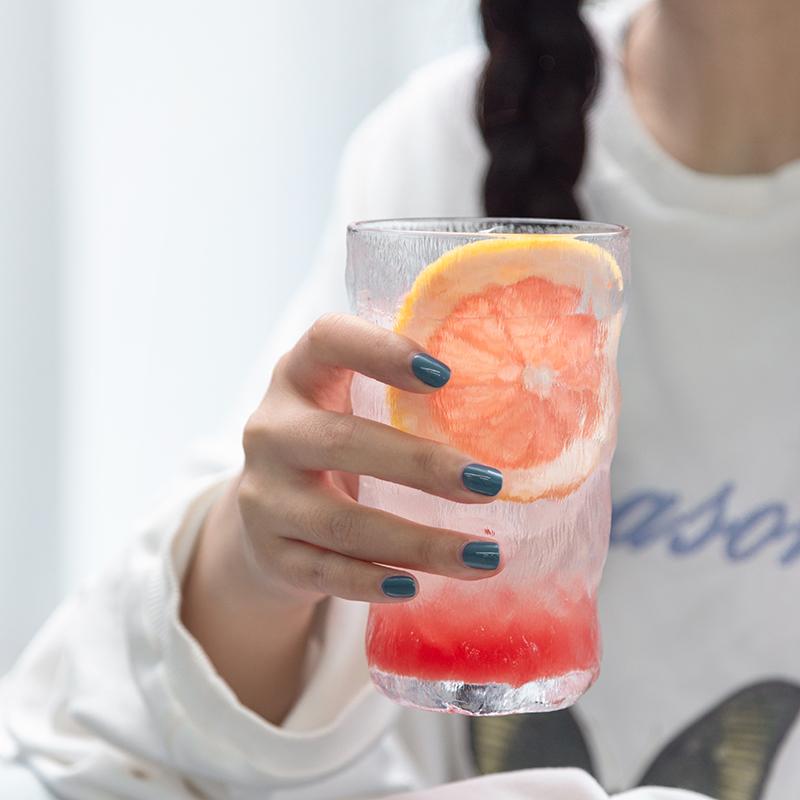 4.9分,阿里自营品牌,ins网红冰川纹:虾选 耐热无铅玻璃杯