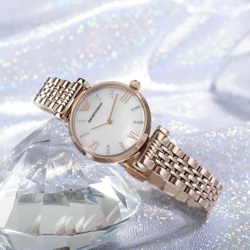 Armani阿玛尼手表女 时尚满天星镶钻小表盘钢带石英女表AR11316