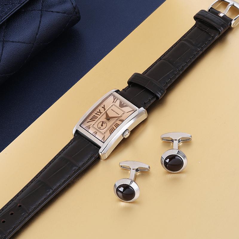 阿玛尼手表女复古时尚方盘休闲石英皮带女表 EMPORIO ARMANI AR1637