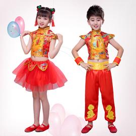说唱中国红儿童演出服开门红喜庆腰鼓六一幼儿舞蹈男女灯笼表演服