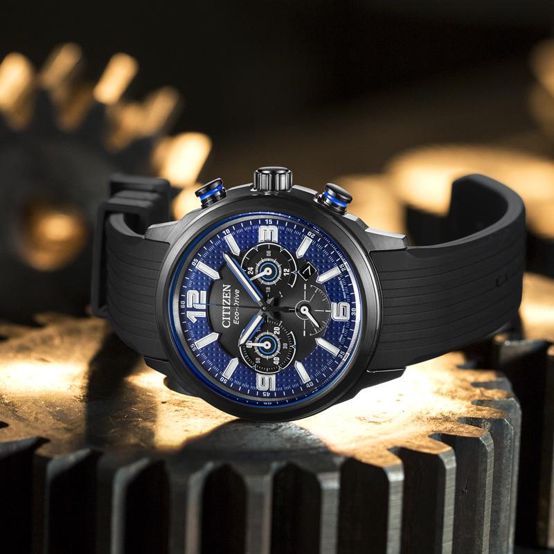 西铁城官网正品光动能防水时尚炫酷日期显示手表男表CA4385-12E