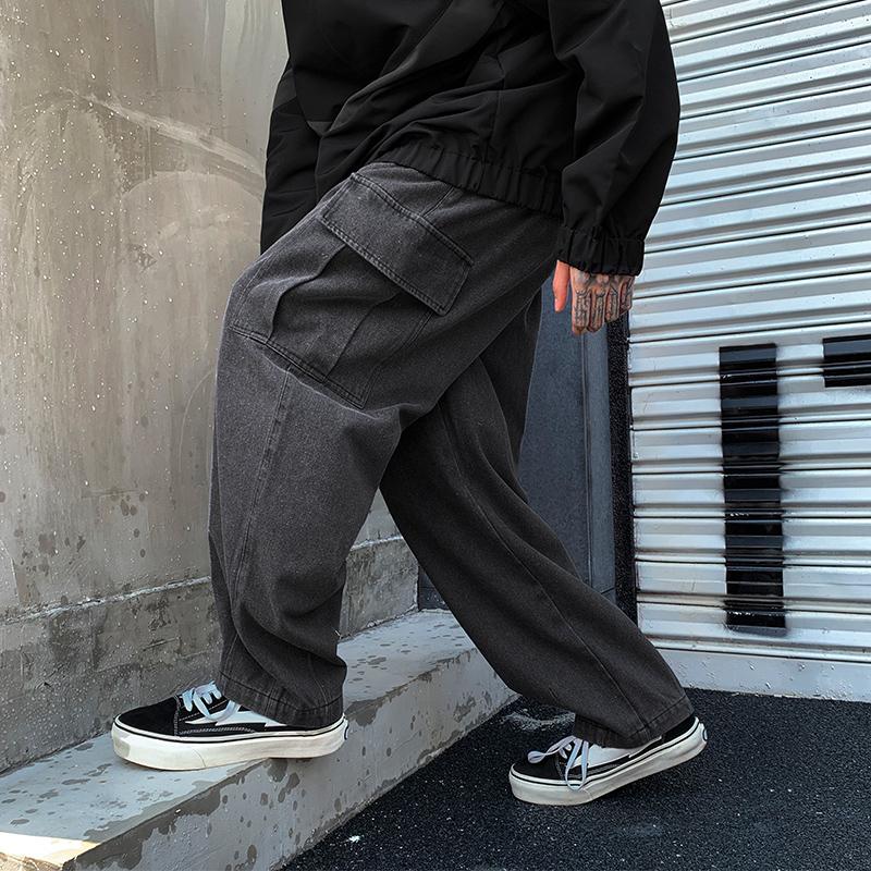 中国新说唱吴亦凡潘玮柏GAI小白同款日系复古水洗宽腿拖地牛仔裤