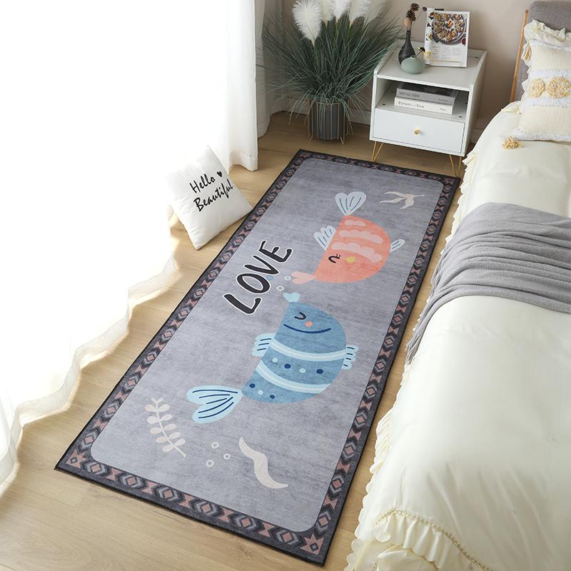 床边短绒小地毯家用ins风卧室垫子
