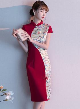 新娘旗袍敬酒服2021新款红色年轻短款结婚订婚连衣裙改良少女冬季