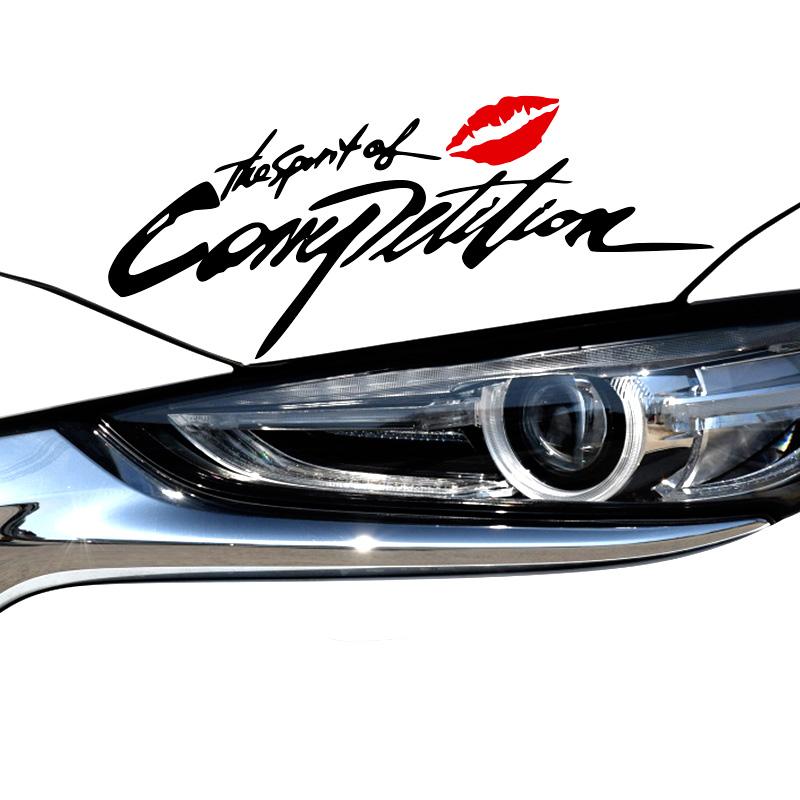汽车灯眉贴纸通用创意个姓英文装饰贴引擎盖大灯保险杠改装车贴