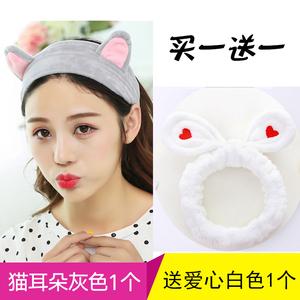 可爱猫耳朵洗脸发带化妆束发带韩国清新美容头巾敷面膜发箍绑发带