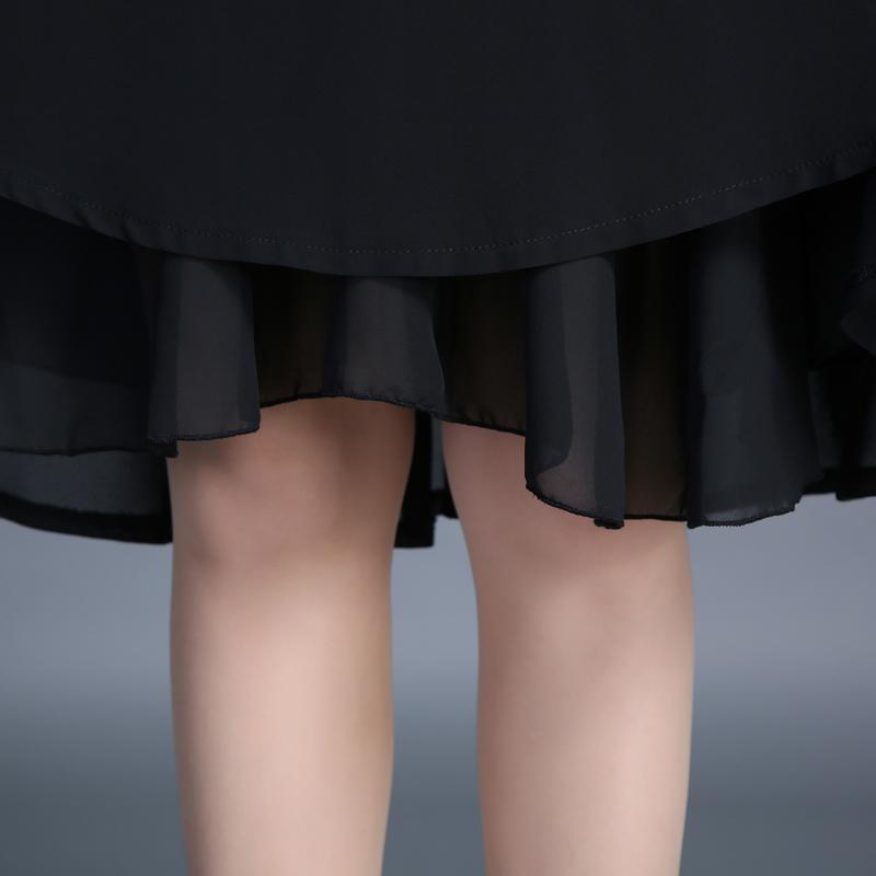 雪纺半身裙中长款夏季新款A字裙蓬蓬裙中裙黑色百褶裙伞裙女短裙