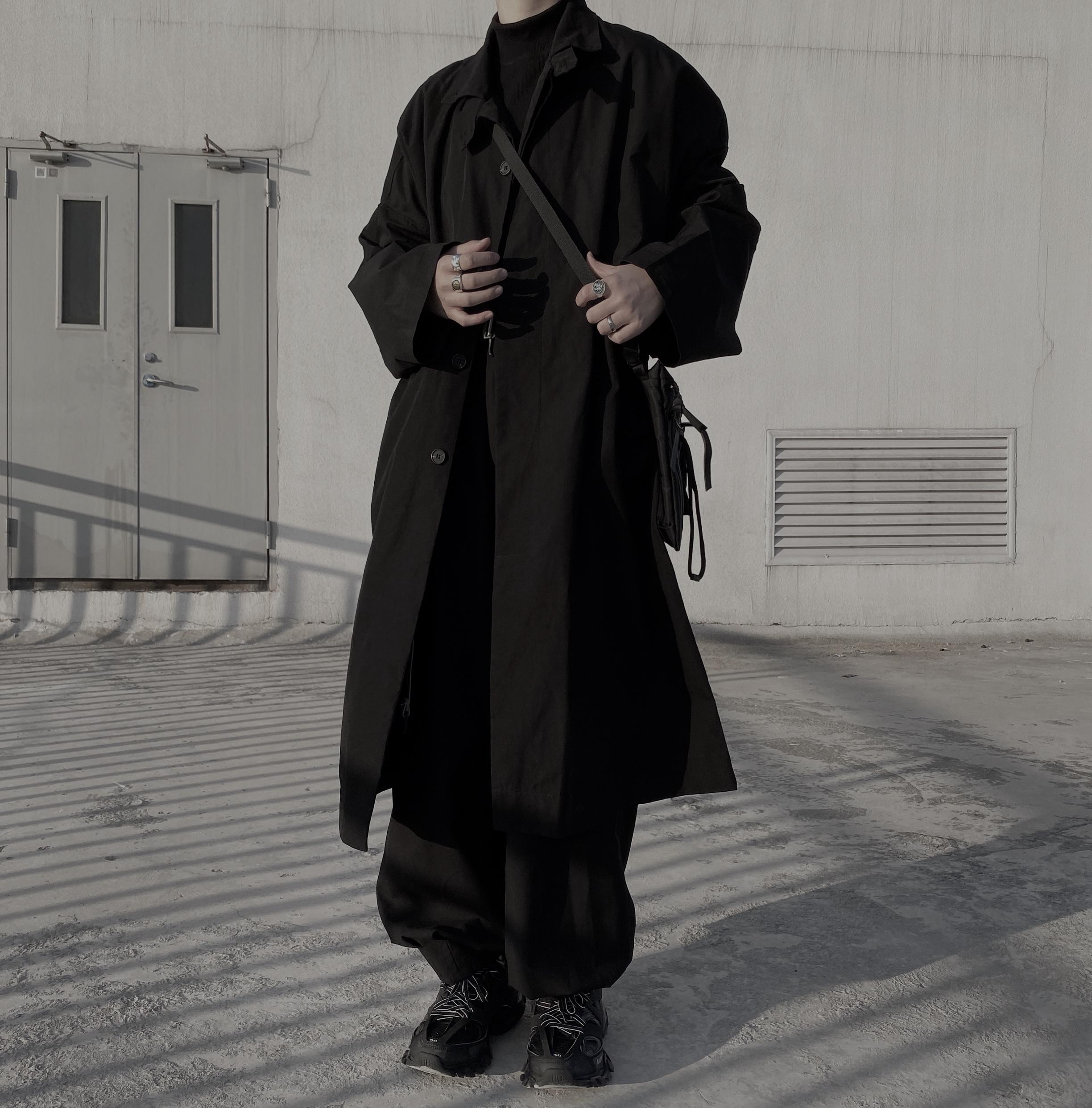 山本耀司风暗黑廓形宽松长款风衣外套 NCM  NormCoreMoment 19fw