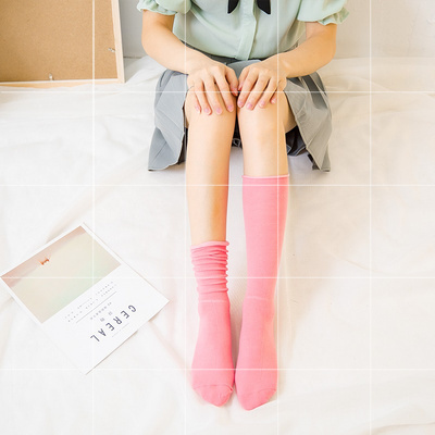 棉质堆堆袜高筒女浅灰色纯色不伤脚中筒咖啡色姜黄色长袜子舒适