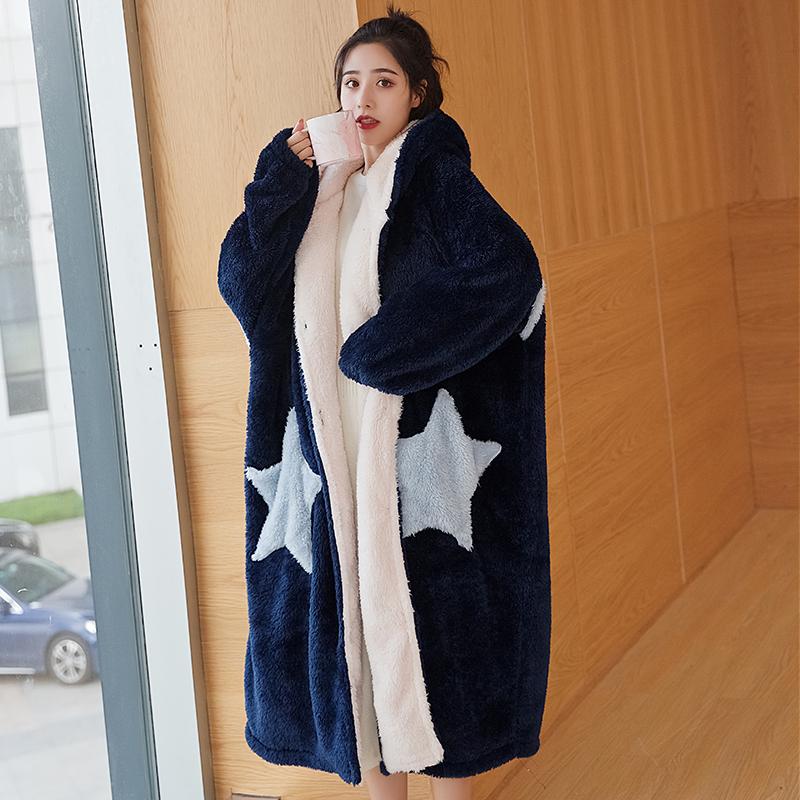 【丹弗顿】法兰绒长款加厚星星睡袍