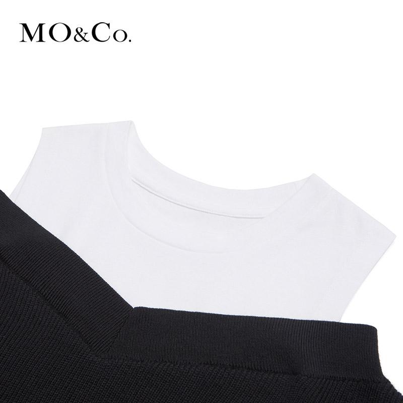 MOCO2019夏季新品拼接假两件露肩连衣裙MAIADRS006 摩安珂
