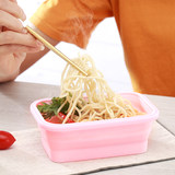 Travel portable retractable folding silicone lunch box bowl tableware picnic picnic supplies compressed lunch meal net red