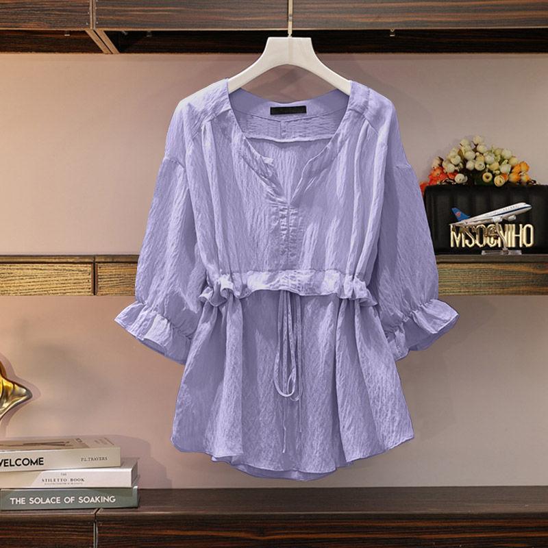 衬衫女夏2020年新款韩版宽松显瘦收腰V领上衣时尚大码纯色雪纺衫