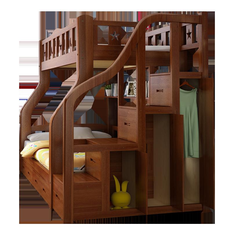 上下床雙層床全實木高低床多功能衣柜兩層兒童床上下鋪木床子母床