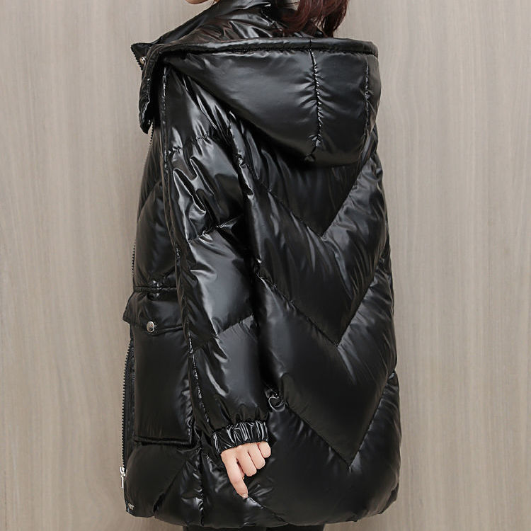 亮面羽绒棉衣女中长款时尚韩版休闲加厚亮皮