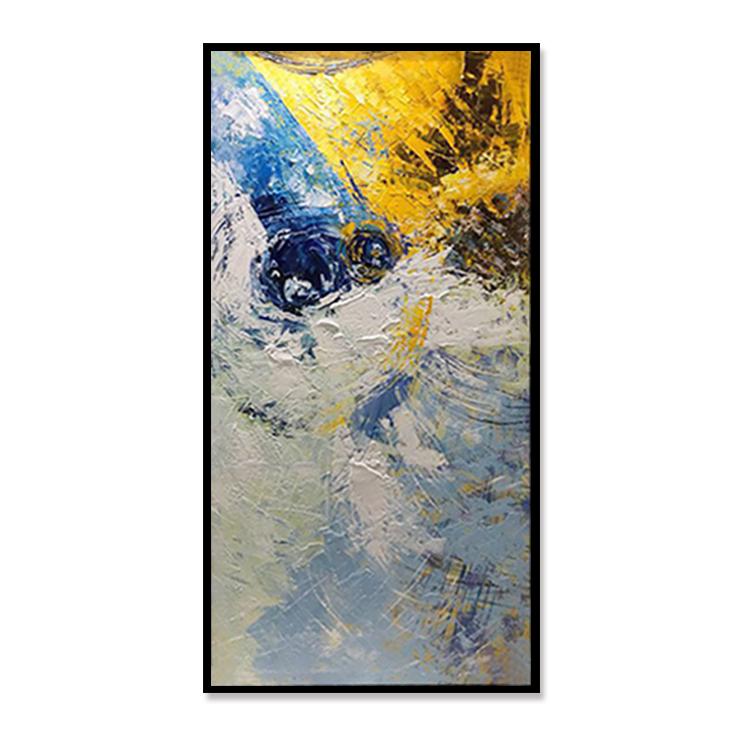 纯手绘抽象赵无极油画现代简约北欧玄关竖版过道走廊定制装饰画