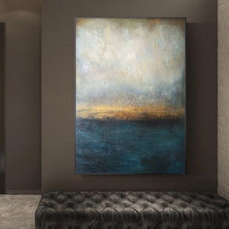 纯手绘赵无极油画客厅现代北欧风格装饰画抽象简约玄关大幅挂画