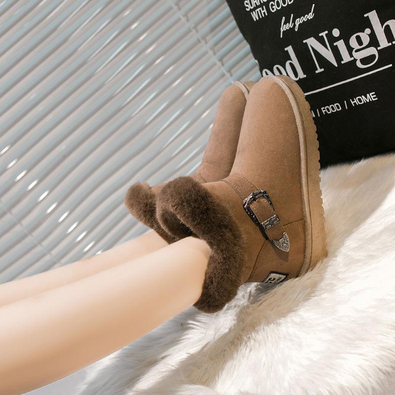 大码女鞋棉鞋冬雪地靴短筒靴休闲鞋防滑靴
