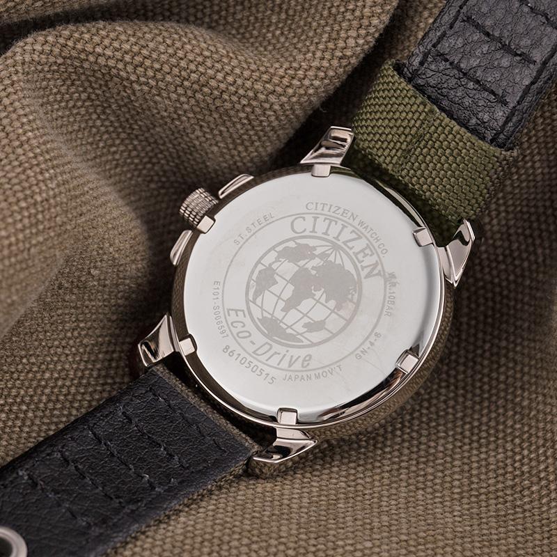 海外直邮 西铁城光动能复古军旅防水腕表学生男手表BM8180-03E