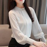 Chiffon shirt female 2020 spring new long-sleeved wild Korean stand-up collar shirt large size loose lantern sleeve bottoming 58