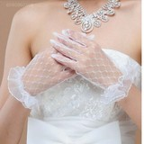 Sexy lace mesh net yarn lace gloves wedding dress show black stockings massage in the white gloves Foot Fetish