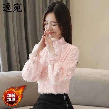 网红气质蕾丝加绒加厚打底衫