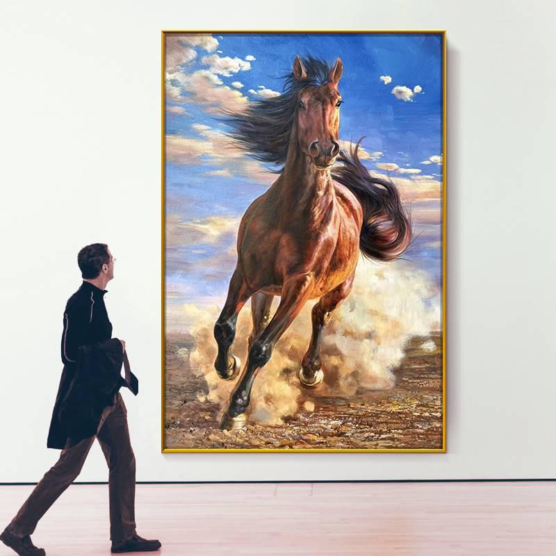 純手繪油畫馬到成功入戶玄關掛畫動物馬裝飾畫走廊酒店大尺寸壁畫