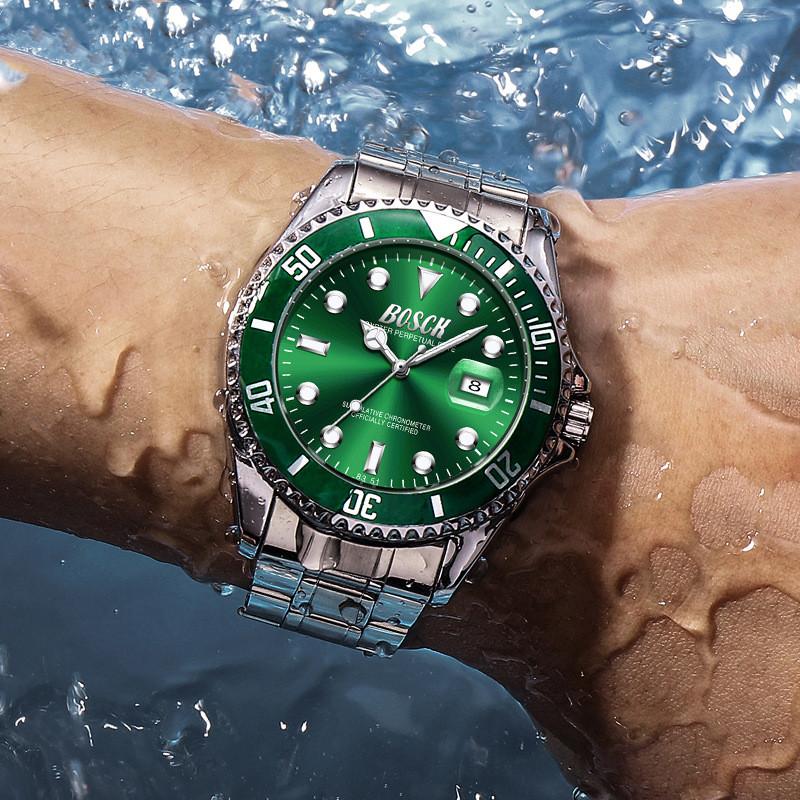 2020 新款手表男士潮钢带夜光防水学生运动潜水黑水怪 正品牌绿水鬼