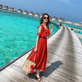 Lady Island Song Bali Seaside Holiday Skirt Beach Dress Red Chiffon Dress Thin Sling Skirt Long Skirt Female