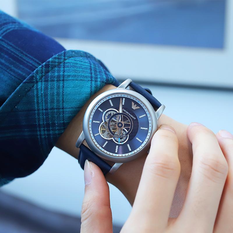Armani阿玛尼手表男明星同款时尚镂空机械男表AR60011