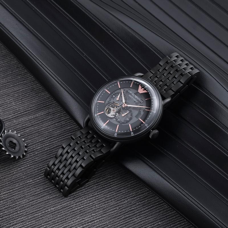 Armani阿玛尼手表男 新款时尚镂空机械休闲皮带男表AR60027