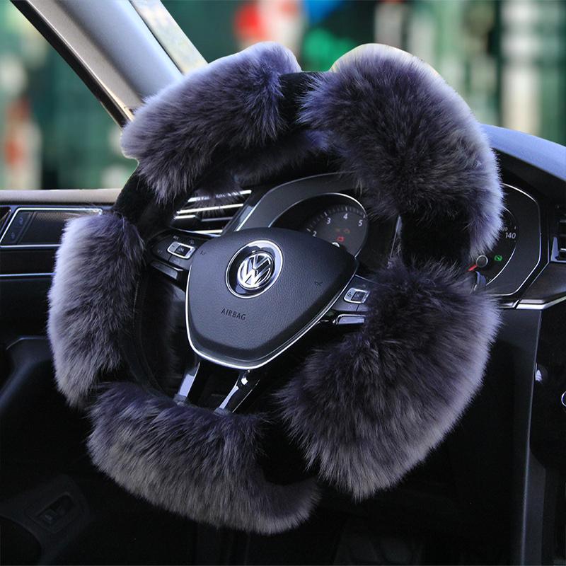 汽车方向盘套冬季纯羊毛把套女通用长毛绒方向盘套保暖真皮毛一体